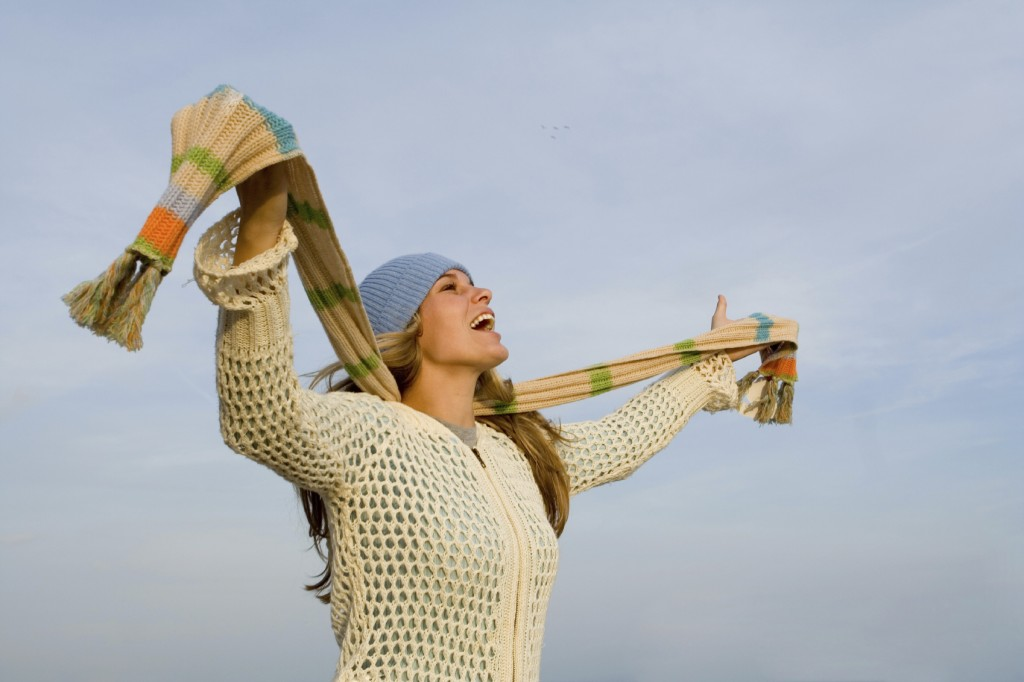 winter woman joy