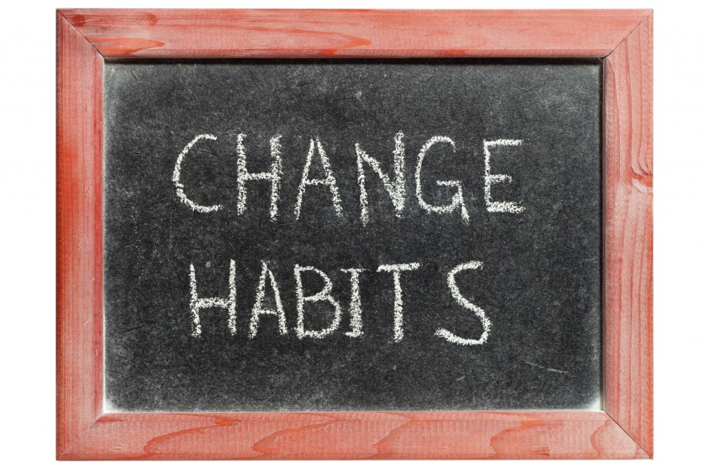 change habits on chalkboard