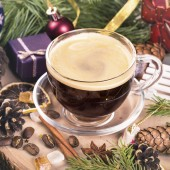 Coffee cup among decorations