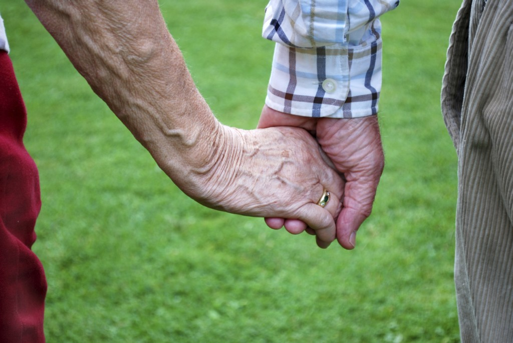 senior couple holding hands in front of green grass