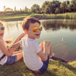 Kids catching fish