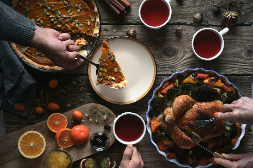 Thanksgiving dinner on the wooden table top view