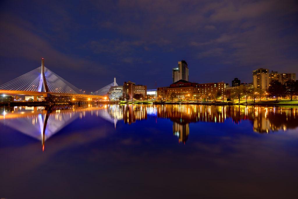 Zakim Bridge reflection on the Charles River in Boston