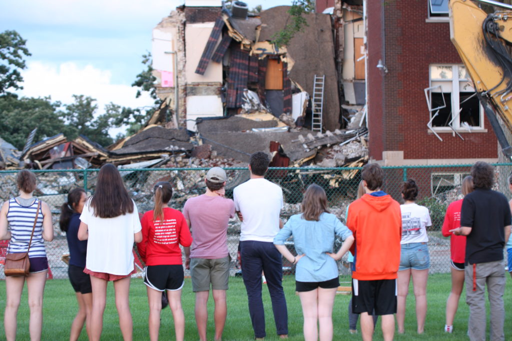 group of kids observing the aftermath of an explosion at Minnehaha Academy