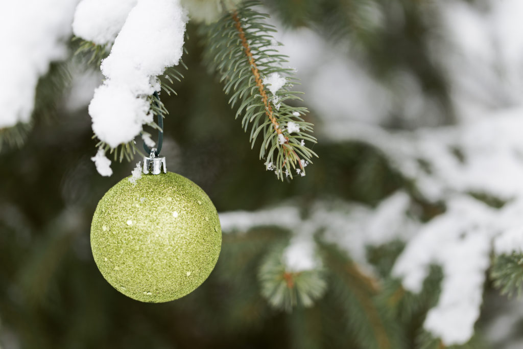 A single green Christmas bauble hanging on the snowy branches of a fir tree outdoors.