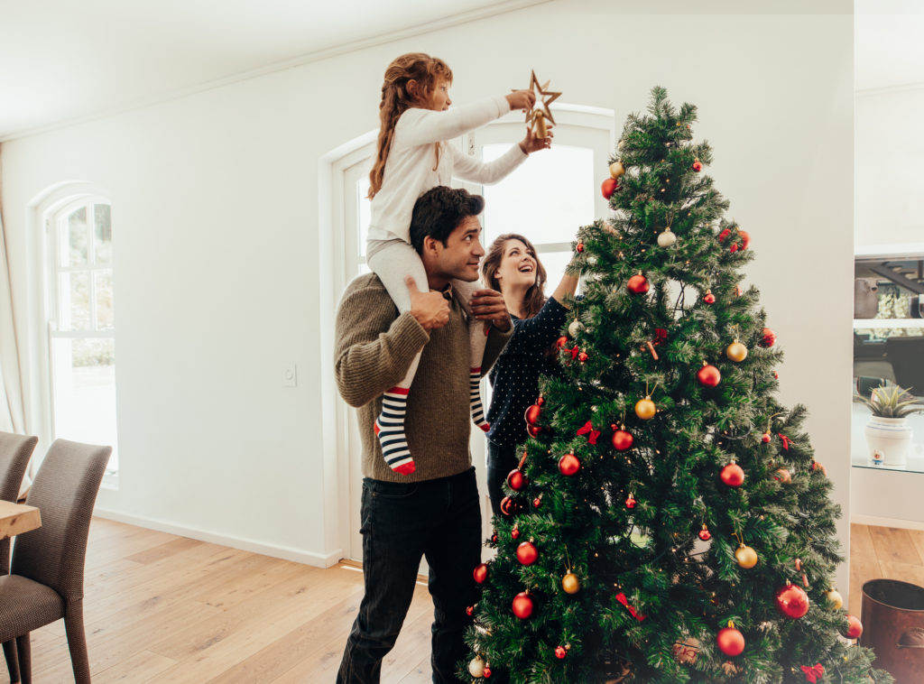 Family celebrating Christmas at home.