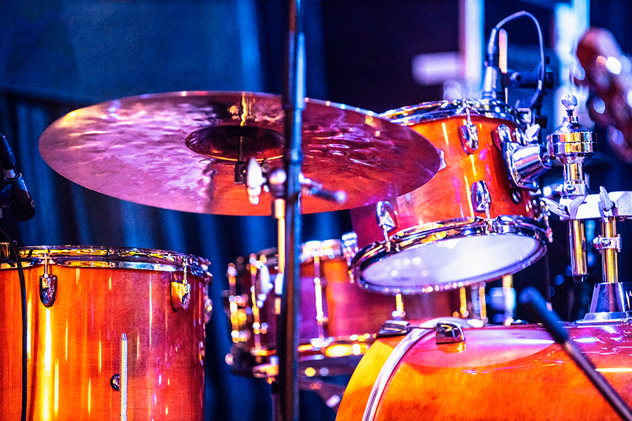 A drumset on stage