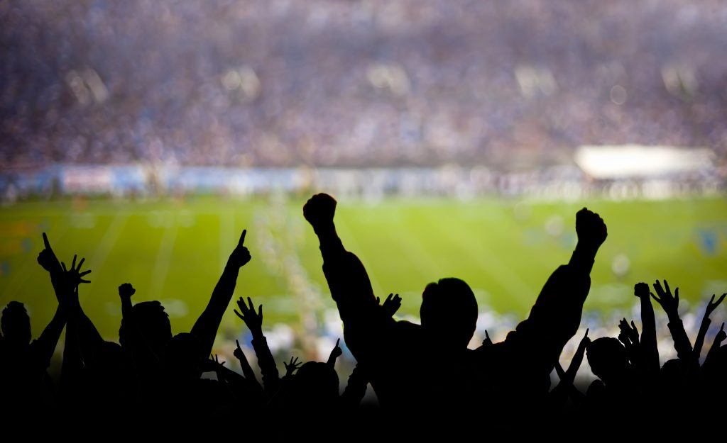 American football fans excited at a game.