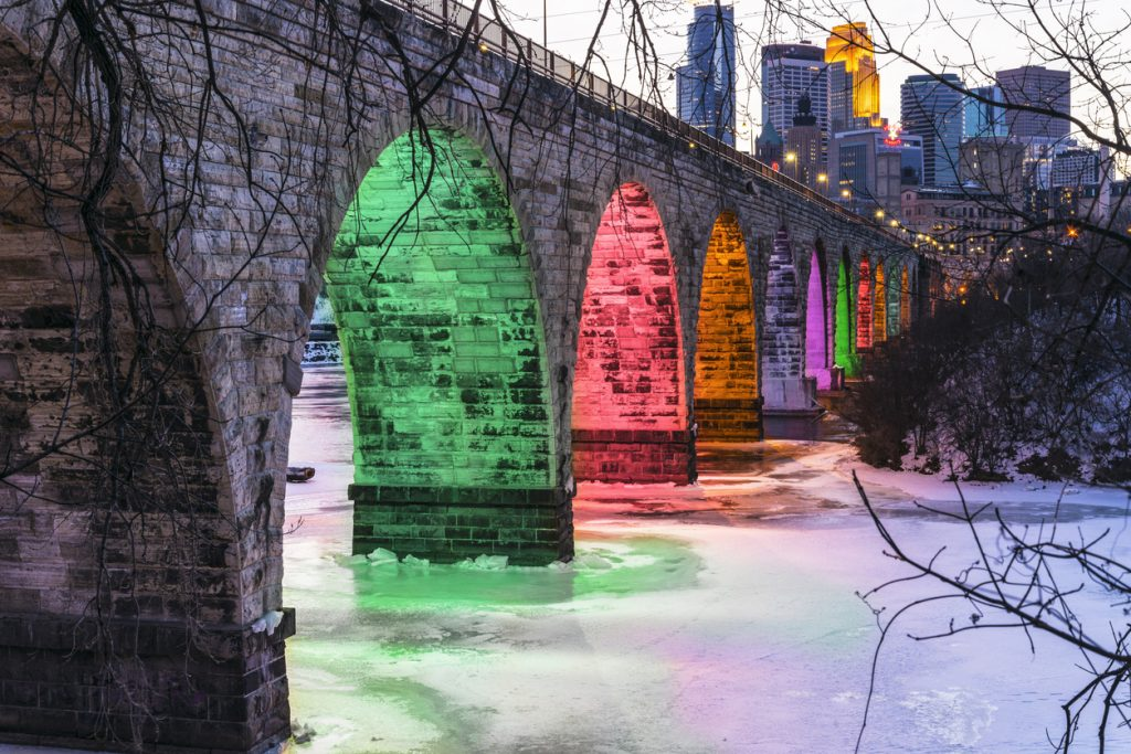 Colorful Stone Arch Bridge Landmark in Minneapolis in Winter