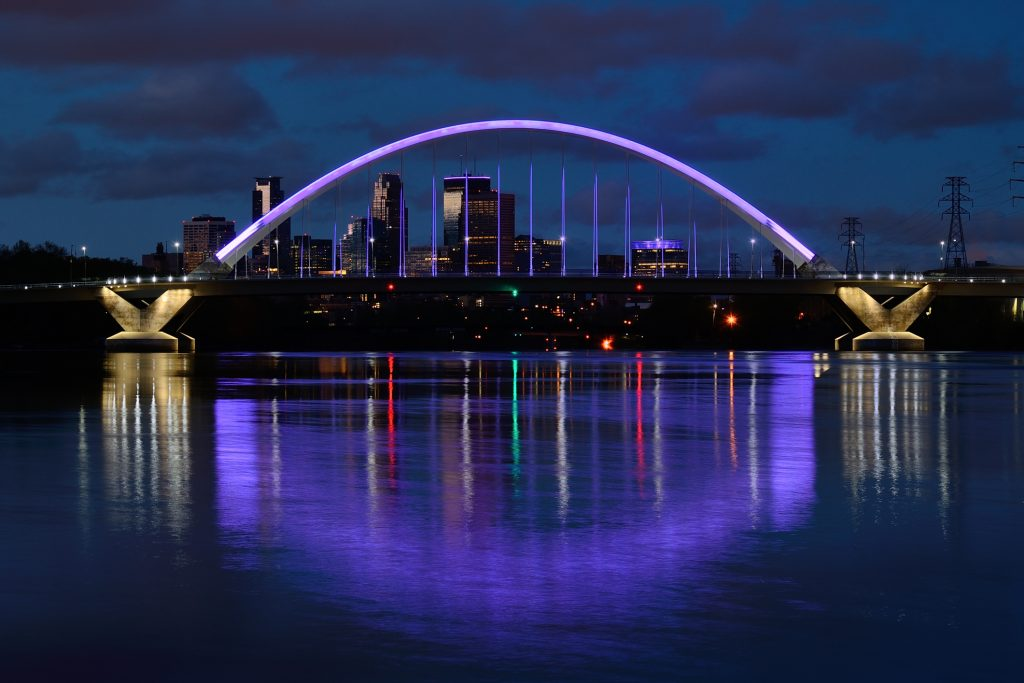 Lowry Avenue Bridge with Purple Lighting in Minneapolis