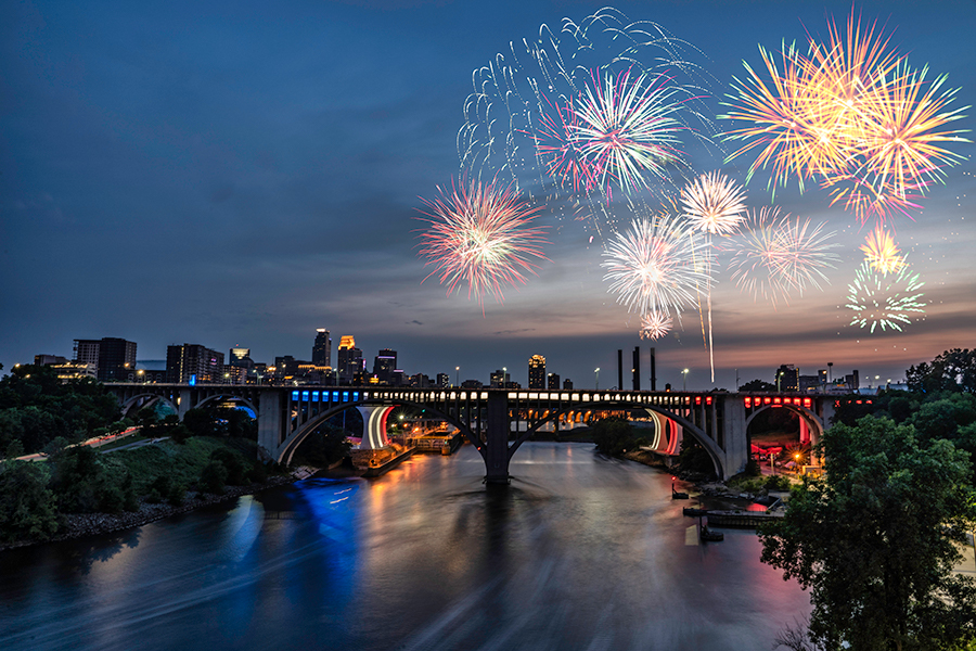 Fireworks over Minneapolis, Minnesota