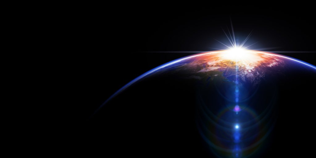 Hot Sunrise In Space. Space background. 3D render