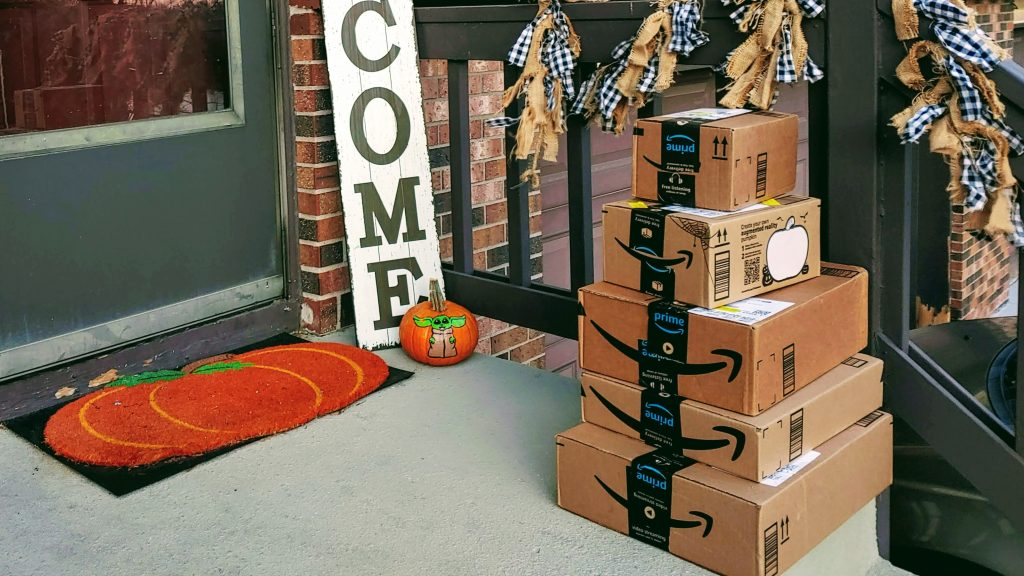 Amazon boxes on a doorstep
