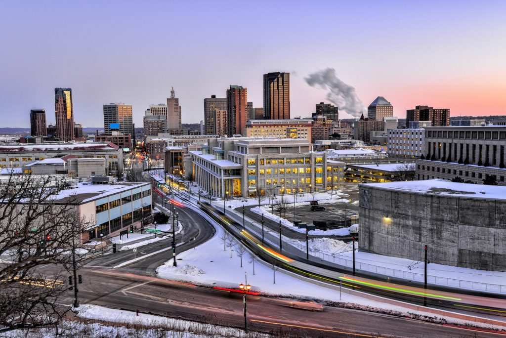 St. Paul Skyline at Dusk in the Winter with Light Trials