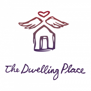 The Dwelling place logo. A home sketched out with wings and a heart shaped halo