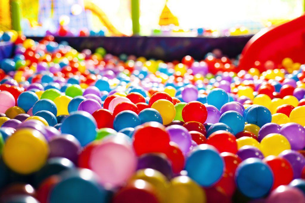 Multicolored balls in a playground