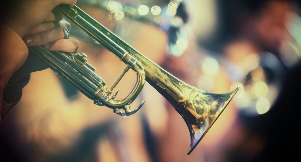 Trumpet in the hands of a musician