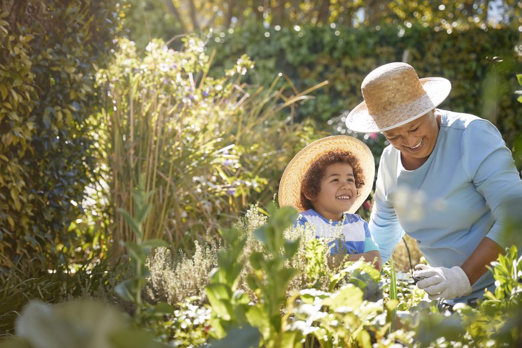 A grandmother and her grandchild outside gardening in a beautiful garden with golden light streaming through some tall grass