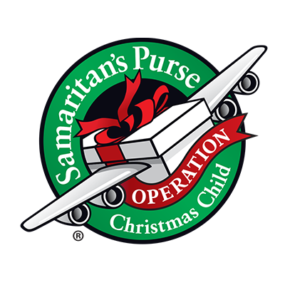 The Operation Christmas Child logo of a shoebox with wings